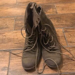 Express Olive Green Suede Combat Boots Size 8
